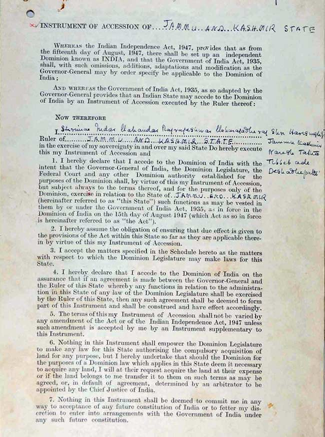 Jammu kashmir documents accession of jammu and kashmir state to india platinumwayz