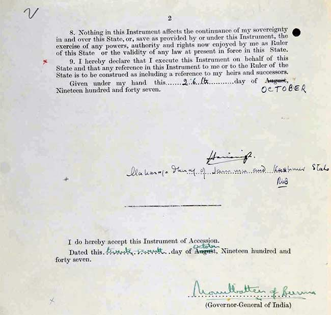 Jammu kashmir documents this document contains the terms of the accession of the state to india as well as mountbattens acceptance of the instrument of accession platinumwayz